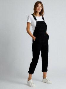 Čierne menčestrové nohavice na traky Dorothy Perkins