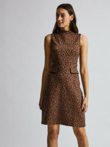 Hnedé púzdrové šaty s leopardím vzorom Dorothy Perkins