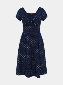 Tmavomodré bodkované šaty Dolly & Dotty Satin