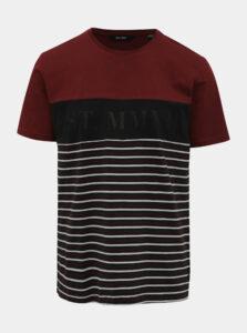 Čierno-vínové pruhované tričko ONLY & SONS Balin