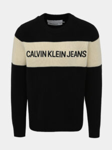 Čierny pánsky vlnený sveter Calvin Klein Jeans