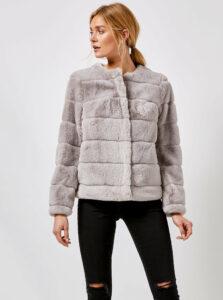 Šedý krátky kabát z umelej kožušiny Dorothy Perkins