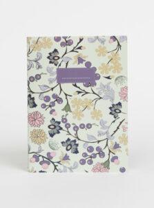 Svetlozelený vzorovaný zápisník Tranquillo Flowers