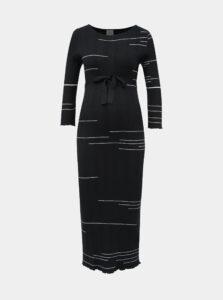 Tmavomodré vzorované svetrové tehotenské maxi šaty Mama.licious Fifi