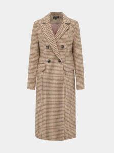 Béžový kockovaný kabát Miss Selfridge