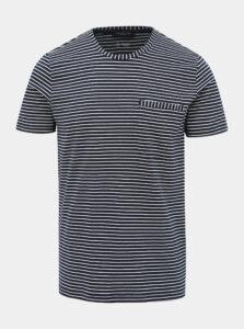 Tmavomodré pruhované tričko Selected Homme Alvin