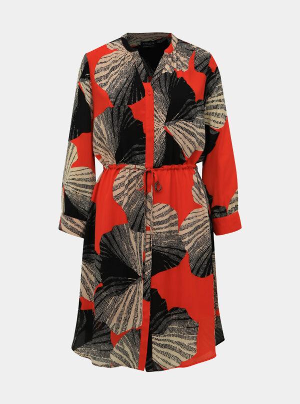 Čierno-červené vzorované košeľové šaty Selected Femme Damina