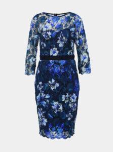 Modré krajkové púzdrové šaty Paper Dolls