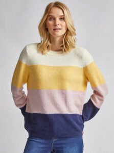 Fialovo-žltý pruhovaný sveter Dorothy Perkins
