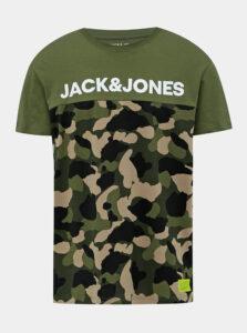 Kaki pánske tričko s potlačou Jack & Jones Ludo