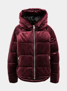 Vínová sametová zimná bunda ONLY New Paula