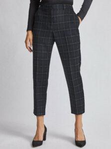 Tmavomodré kockované skrátené nohavice Dorothy Perkins