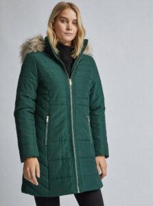 Tmavozelený prešívaný zimný kabát Dorothy Perkins