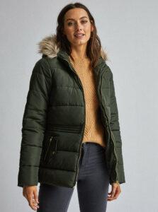 Tmavozelená prešívaná zimná bunda Dorothy Perkins