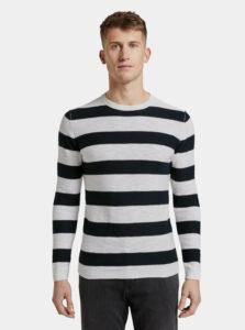 Čierno-biely pánsky pruhovaný basic sveter Tom Tailor Denim