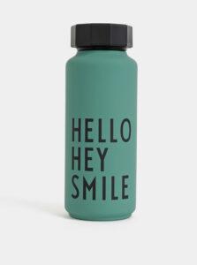 Zelená termo fľaška Design Letters Hello Hey Smile