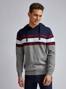 Modro-šedý pruhovaný sveter Burton Menswear London Colbrook
