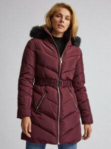 Vínový prešívaný zimný kabát Dorothy Perkins