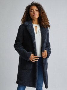 Tmavomodrý kabát z umelej kožušiny Dorothy Perkins Tall