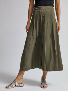Kaki midi sukňa s gombíkmi Dorothy Perkins