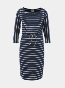 Tmavomodré tehotenské/dojčiace pruhované šaty Mama.licious Khloe