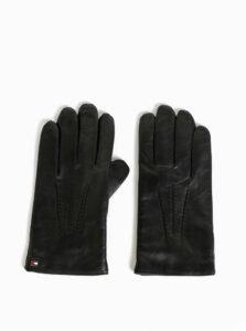 Čierne pánske kožené rukavice s vlnenou podšívkou Tommy Hilfiger Flag