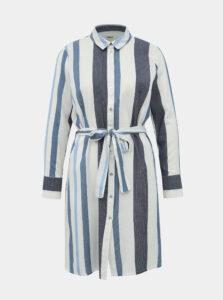 Bielo-modré košeľové pruhované šaty ONLY Anya