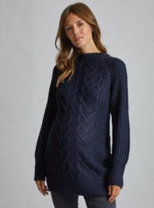 Tmavomodrý tehotenský dlhý sveter Dorothy Perkins Maternity