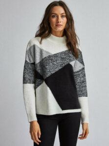 Bielo-šedý vzorovaný sveter Dorothy Perkins