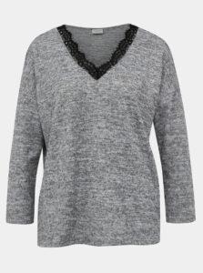 Šedý sveter s krajkou Jacqueline de Yong Choice