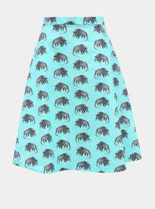 Tyrkysová sukňa s motívom pásovca annanemone