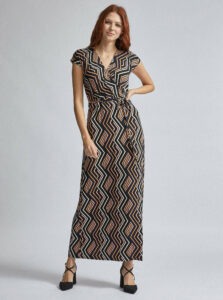 Béžovo-čierne vzorované maxi šaty Dorothy Perkins