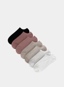 Sada siedmich párov vzorovaných nízkých ponožek v bielej, béžovej, rúžovej a čiernej farbe TALLY WEiJL Flip