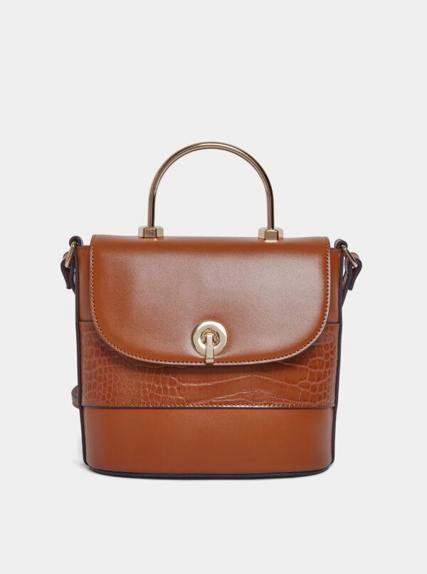 Hnedá crossbody kabelka s detailmi s hadím vzorom Dorothy Perkins