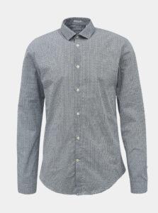 Bielo-modrá vzorovaná slim fit košeľa Lindbergh