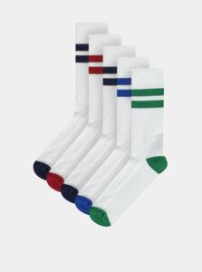 Sada piatich párov pánskych bielych ponožiek M&Co