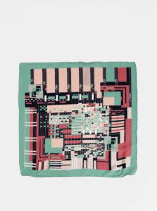 Ružovo-zelená vzorovaná šatka Pieces Netty