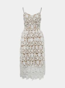 Béžovo-biele krajkové šaty VILA Anna