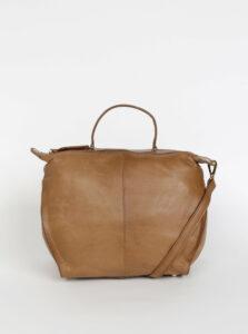 Hnedá kožená kabelka Pieces Noma