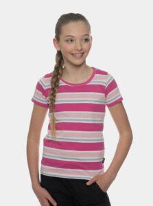 Rúžové dievčenské pruhované tričko SAM 73