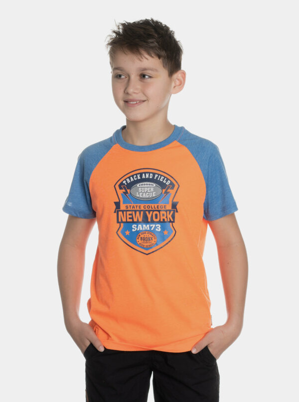 Oranžové chlapčenské tričko s potlačou SAM 73