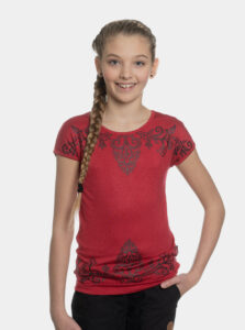 Červené dievčenské tričko s potlačou SAM 73