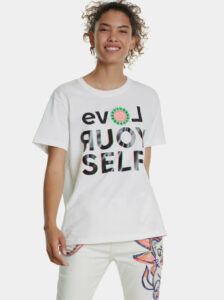 Biele tričko s potlačou Desigual