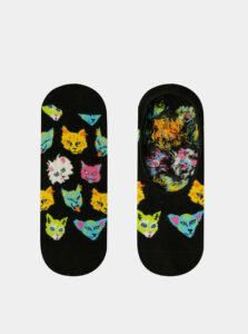Čierne dámske nízke vzorované ponožky Happy Socks Funny Cat