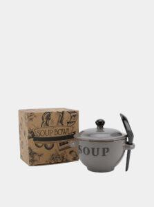 Šedá keramická miska na polievku CGB