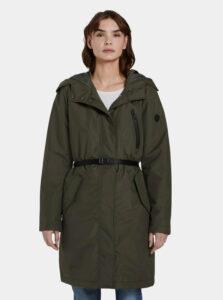 Tmavozelený dámsky vodeodpudivý kabát Tom Tailor