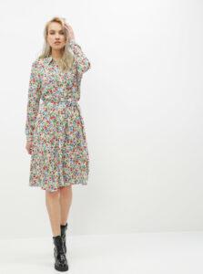 Zeleno-biele kvetované košeľové šaty ONLY Floral