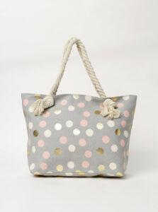 Šedá dámska bodkovaná plážová taška Haily´s Samila