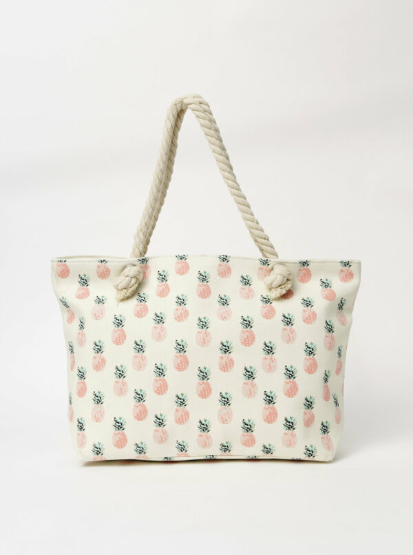 Krémová dámska vzorovaná plážová taška Haily´s Samila