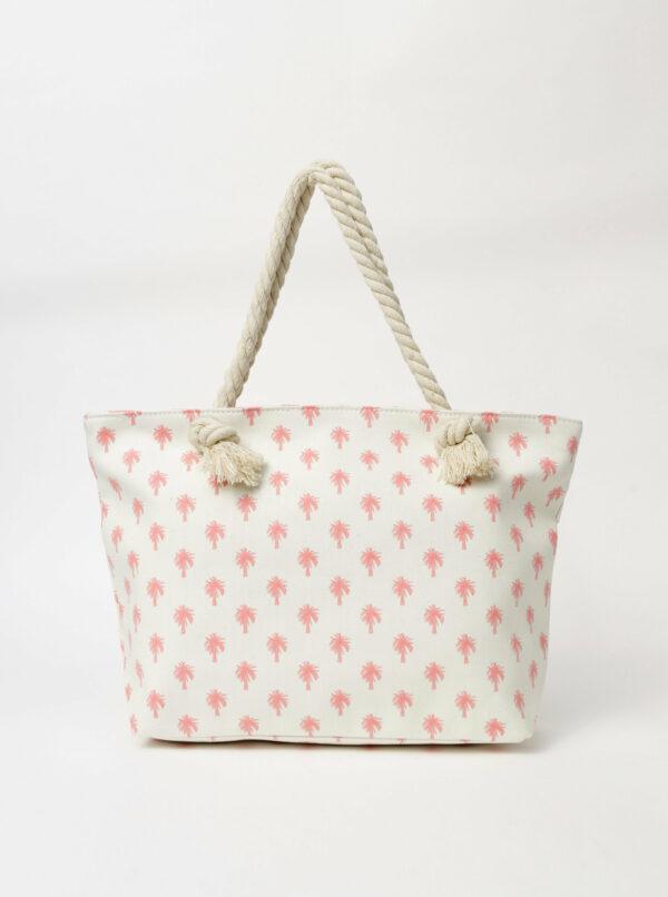 Ružovo-biela dámska vzorovaná plážová taška Haily´s Summer Vibes